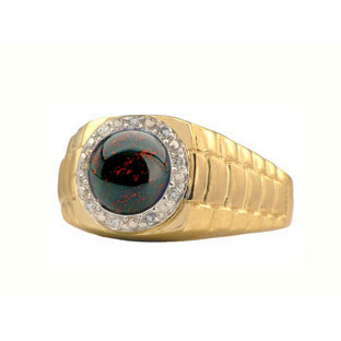 Men's Diamond and Bloodstone Ring in Yellow Gold ...