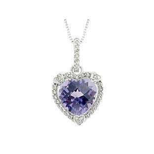 Alexandrite pendants necklaces from gemologica a fine online june birthstone checkerboard alexandrite heart silver pendant aloadofball Choice Image