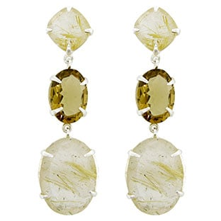 Sterling Silver 42 Carat Brown Golden Quartz Dangle Earrings Jewelry