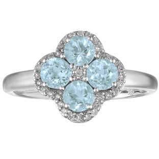 Aquamarine Birthstone Diamond Clover Ring In Sterling Silver