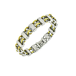 Men's Two-Tone Stainless Steel Gold Bracelet