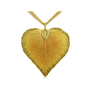 24K Yellow Gold Overlay Natural Leaf Pendant Necklace Chain