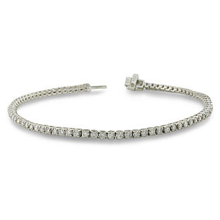10K White Gold 2.15 Carat Diamond 7.5 Inch Tennis Bracelet