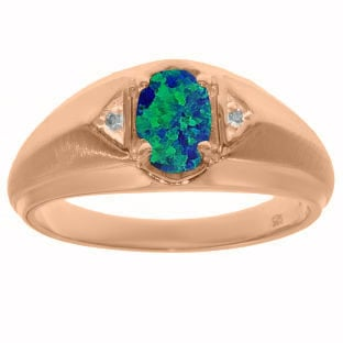 Rose Gold Diamond Australian Opal Ring For Men
