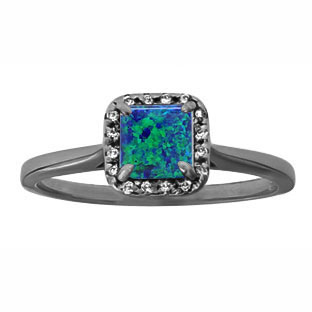 Australian Opal Gemstone Diamond Halo Ring In Black Rhodium Plated White Gold