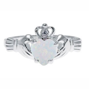 Sterling Silver Diamond Opal October Birthstone Heart Irish Claddagh Ring