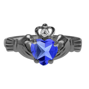 Black Rhodium White Gold Diamond Tanzanite Birthstone Heart Claddagh Ring