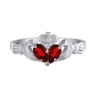 White Gold Diamond Red January Birthstone Garnet Gemstone Claddagh Ring