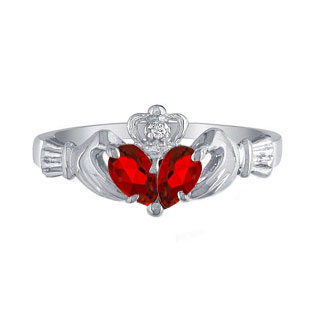 925 Silver Diamond Red July Birthstone Ruby Gemstone Claddagh Ring