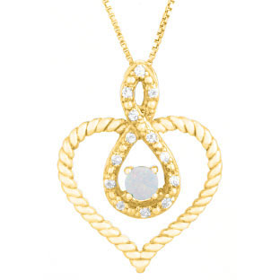 Diamond Opal October Birthstone Heart Infinity Pendant In Yellow Gold