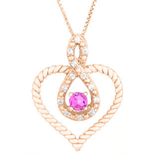 Diamond Pink Sapphire June Birthstone Heart Infinity Pendant In Rose Gold