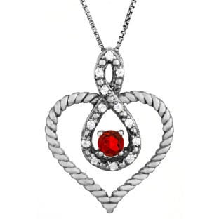 Diamond Ruby Birthstone Heart Infinity Pendant Black Rhodium White Gold