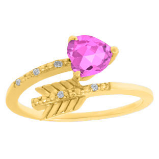 Diamond Pink Sapphire June Birthstone Heart Arrow Ring In Yellow Gold