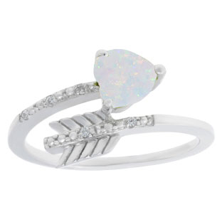Diamond Opal October Birthstone Heart Arrow Ring In White Gold