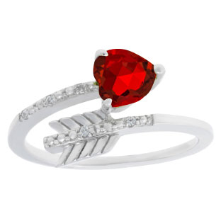 Diamond Ruby July Birthstone Heart Arrow Ring In White Gold