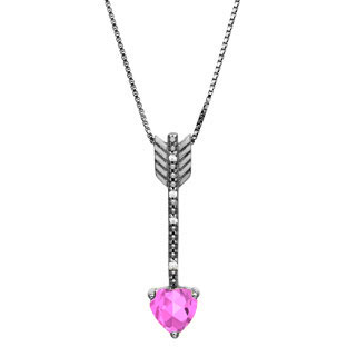 Diamond Pink Sapphire June Birthstone Heart Arrow Pendant Black Rhod White Gold