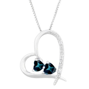 Diamond 2-Stone London Topaz December Birthstone Heart Pendant In White Gold