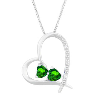 Diamond 2-Stone Emerald May Birthstone Heart Pendant In White Gold
