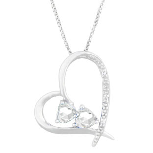 Diamond 2-Stone White Sapphire April Birthstone Heart Pendant In White Gold
