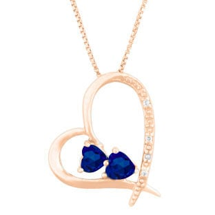 Diamond 2-Stone Blue Sapphire September Birthstone Heart Pendant In Rose Gold