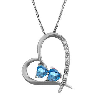 Diamond 2-Stone Blue Topaz December Stone Heart Pendant Black Rhod White Gold