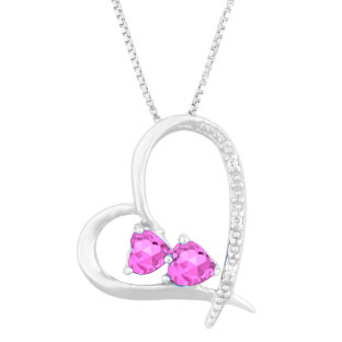 Diamond 2-Stone Pink Sapphire June Birthstone Heart Pendant In Sterling Silver