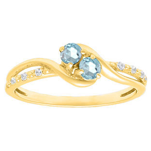 Diamond 2-Stone Aquamarine March Birthstone Ring In Yellow Gold