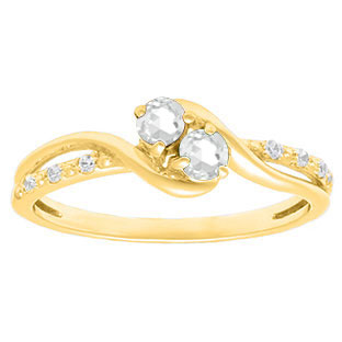 Diamond 2-Stone CZ April Birthstone Ring In Yellow Gold