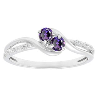 Diamond 2-Stone Alexandrite June Birthstone Ring In White Gold