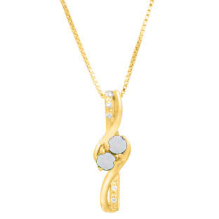 Diamond 2-Stone Opal October Birthstone Pendant In Yellow Gold