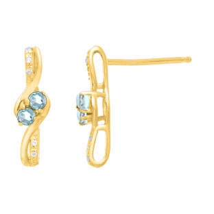 Diamond 2-Stone Aquamarine March Birthstone Earrings In Yellow Gold