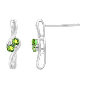 Diamond 2-Stone Peridot August Birthstone Earrings In White Gold