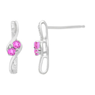 Diamond 2-Stone Pink Sapphire June Birthstone Earrings In White Gold