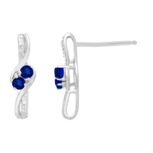 Diamond 2-Stone Blue Sapphire September Birthstone Earrings In White Gold