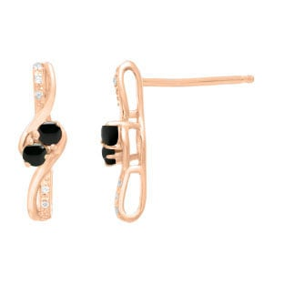 Diamond 2-Stone Black Onyx Birthstone Earrings In Rose Gold