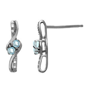 Diamond 2-Stone Aquamarine March Birthstone Earrings Black Rhodium White Gold