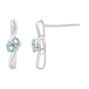 Diamond 2-Stone Aquamarine March Birthstone Earrings In Sterling Silver