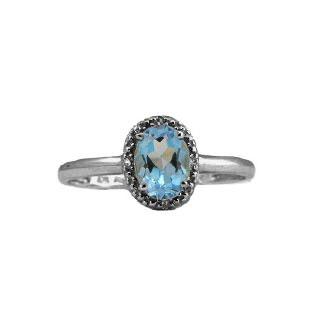 Diamond and Black Rhodium White Gold Blue Topaz Birthstone Oval Ring