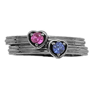 Custom Birthstone Stackable Ring In Black Rhodium White Gold