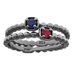 Black Rhodium White Gold Custom Gemstone Stackable Ring