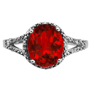 Simple Oval Cut Ruby Diamond Black Rhodium White Gold Ring For Women