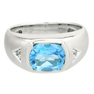 Men's Antique Cushion Cut Blue Topaz Diamond Sterling Silver Ring