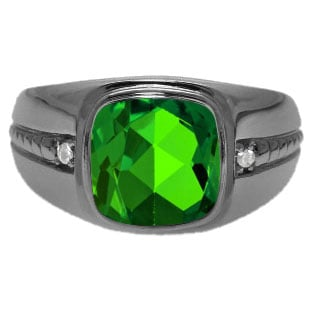 Cushion-Cut Emerald Gemstone Men's Ring In Black Rhodium Plated White Gold
