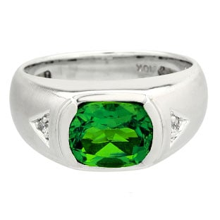 Men's Antique Cushion Cut Emerald Diamond Sterling Silver Ring