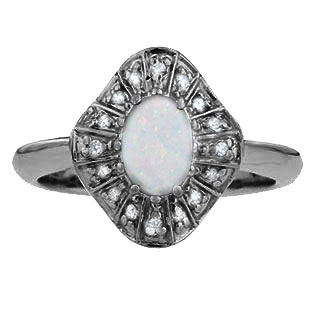 Diamond Opal Birthstone Ballerina Ring In Black Rhodium White Gold
