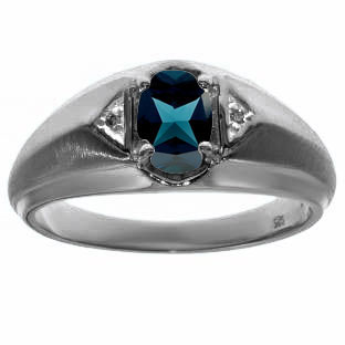 London Topaz & Diamond Men's Black Rhodium Plated White Gold Oval Ring