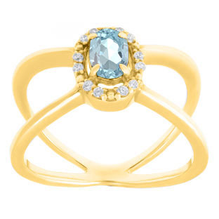 Aquamarine March Birthstone Diamond Double Wave Gemstone Ring In Yellow Gold