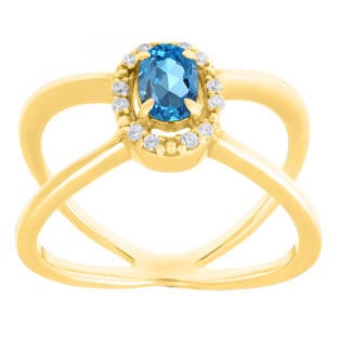 Blue Topaz December Birthstone Diamond Double Wave Gemstone Ring In Yellow Gold