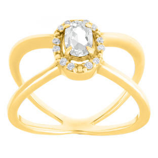 White Topaz April Birthstone Diamond Double Wave Gemstone Ring In Yellow Gold