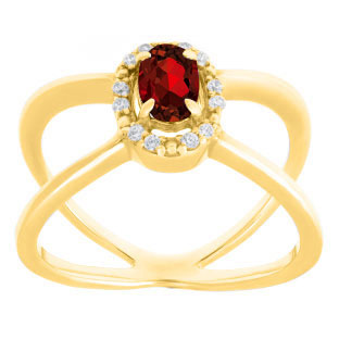 Garnet January Birthstone Diamond Double Wave Gemstone Ring In Yellow Gold